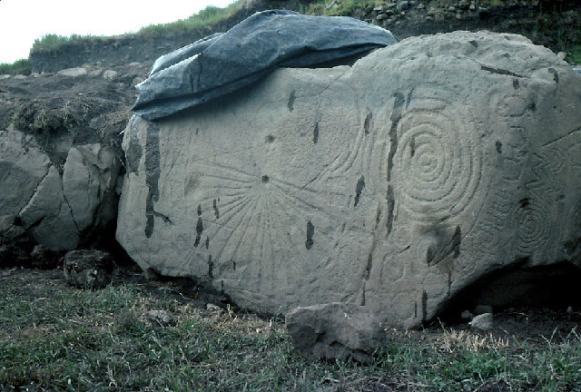 Knowth: just one of the carved megaliths.