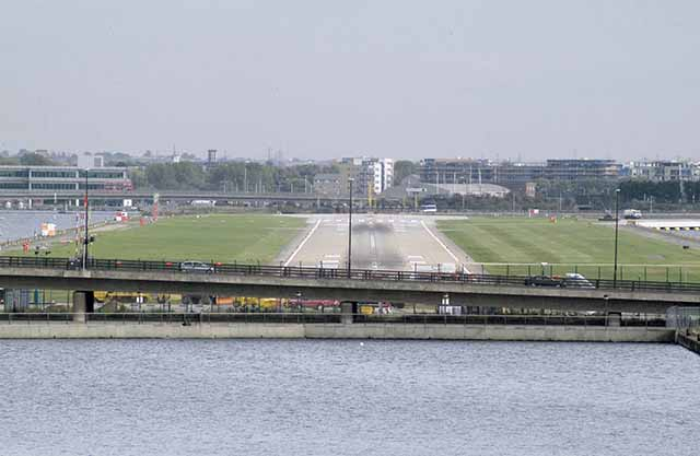 London City Airport runway, from west