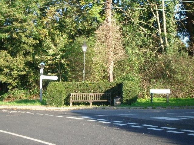 Junction of Gadbridge Lane (right) with Cranleigh Road