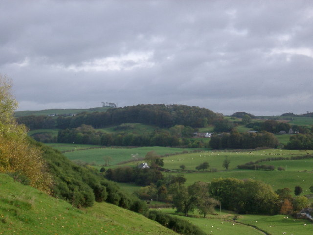 Tarff valley with woods above Fellend in distance