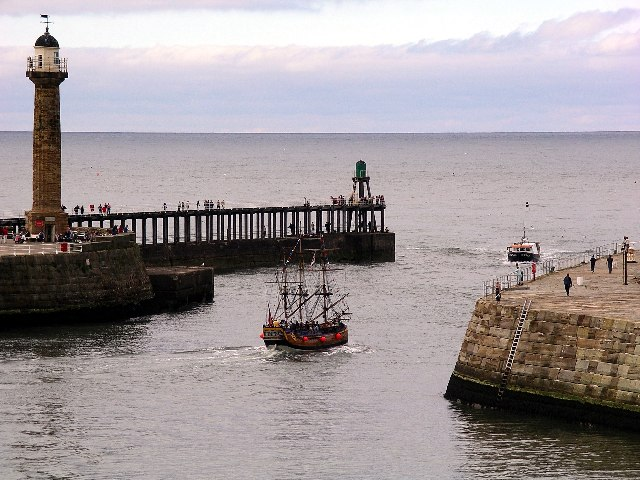 The Bark Endeavour leaving Whitby harbour