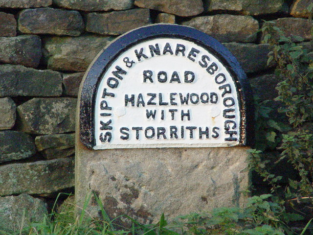 Milestone at the side of the A59