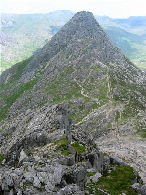 Bwlch Tryfan and Tryfan from Bristly Ridge