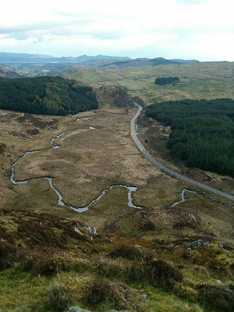 Meandering burn on the bog below Dun Chonallaich