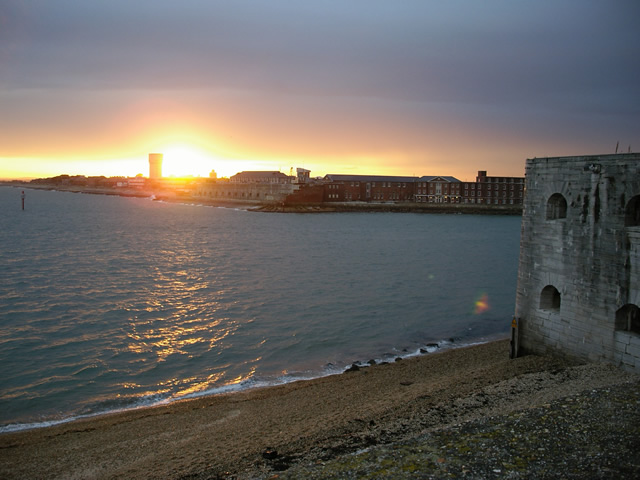 Fort Blockhouse and the entrance to Portsmouth Harbour