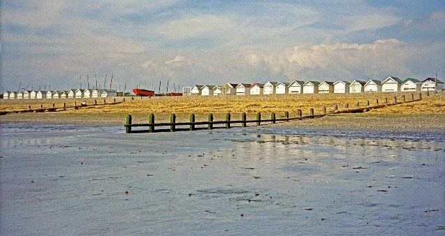Beach huts from beach at West Worthing
