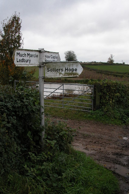 Road sign between Much Marcle and How Caple