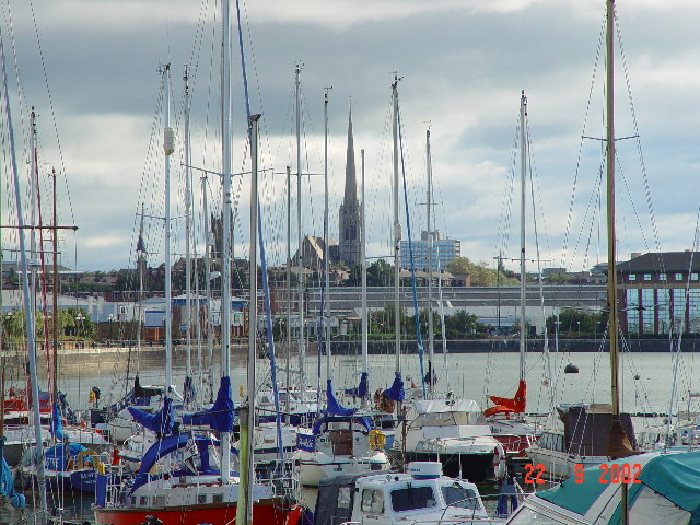 Preston docks looking to St Walburge's steeple