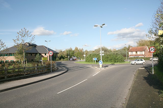 Roundabout at eastern end of Church Lane, Colden Common
