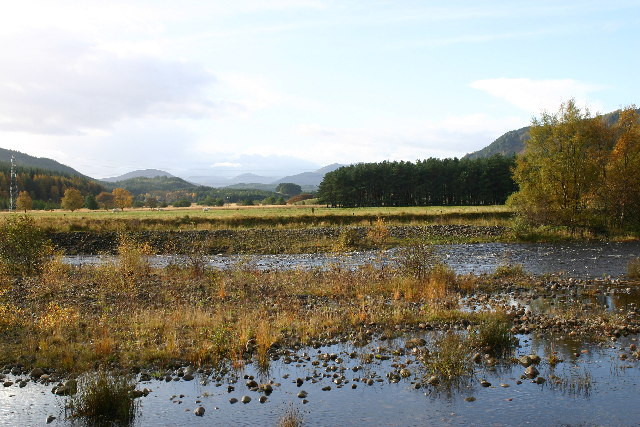 Looking over River Spey up Strath Mashie