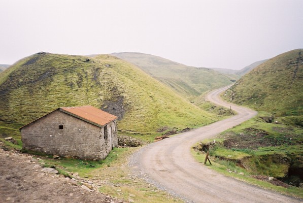 Road and hut, Nenthead Mines