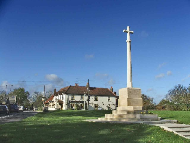War Memorial with Sun Public House in background, Northaw