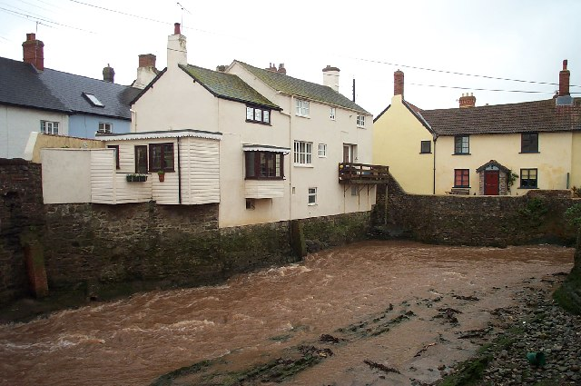 The Washford River after heavy rain.