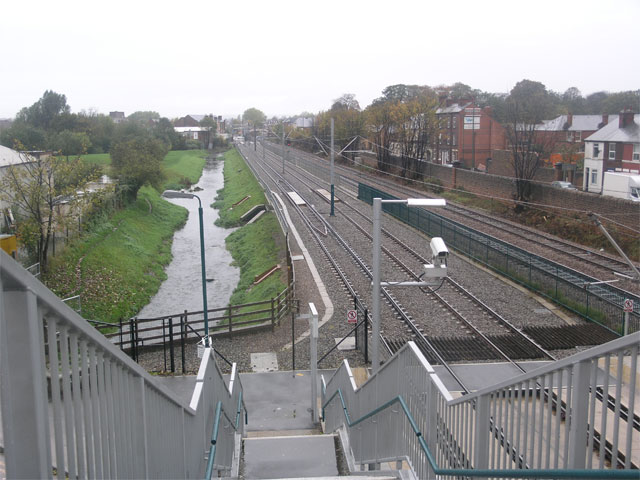 Tram lines and the River Leen
