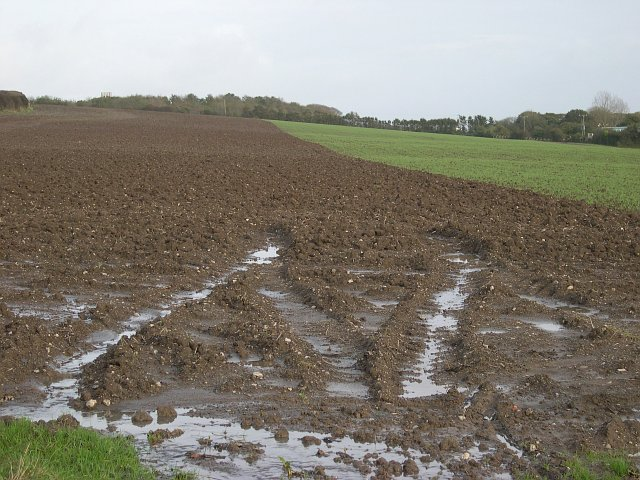 Ploughed field near Torpoint