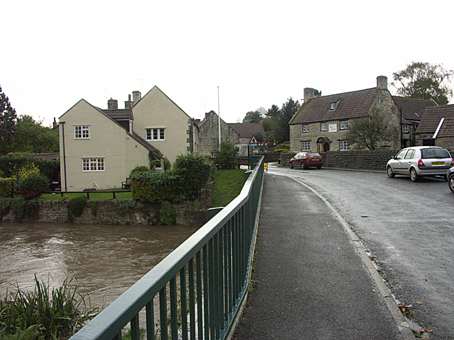 Woollard Bridge and River Chew nearly in flood
