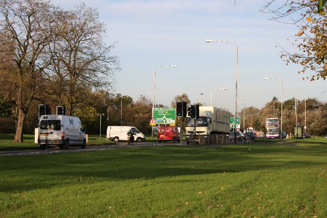 Approaching Groby Road Roundabout
