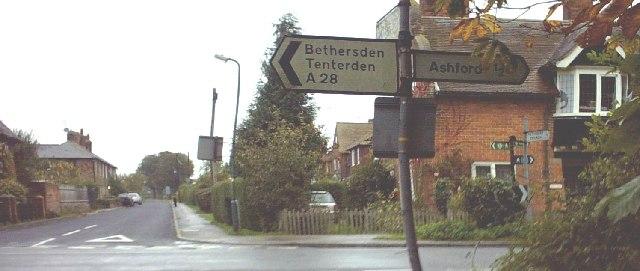 Old roadsign, Great Chart Crossroads