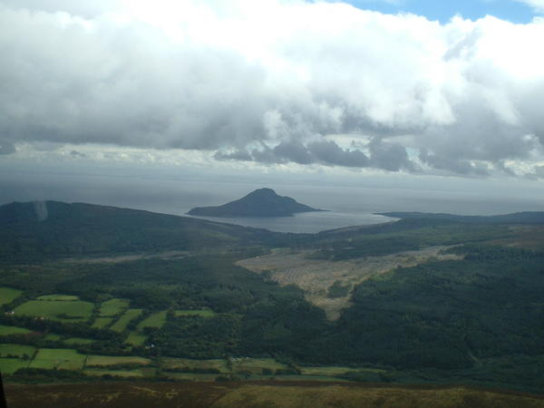 View of Holy Isle from the air.