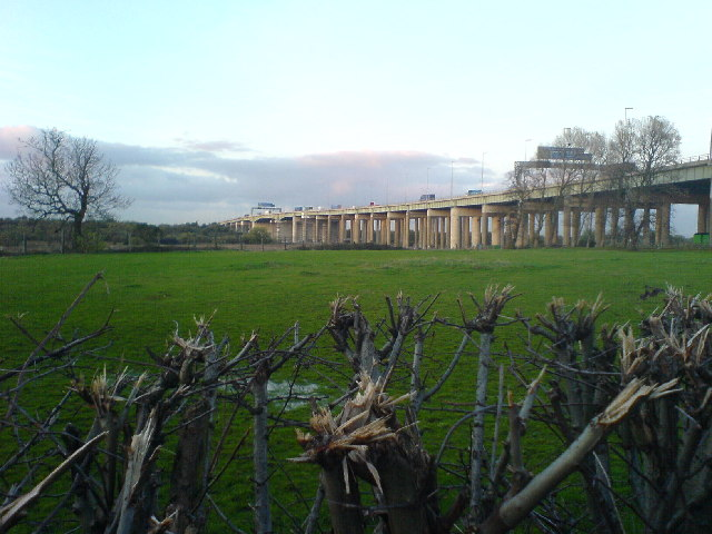 thelwall viaduct across the field