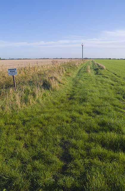 Private farm track off Maisdyke Lane, Fleet.