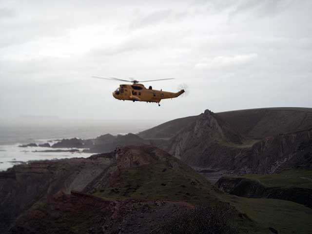 RAF Air Sea Rescue helicopter at Speke's Mill Mouth