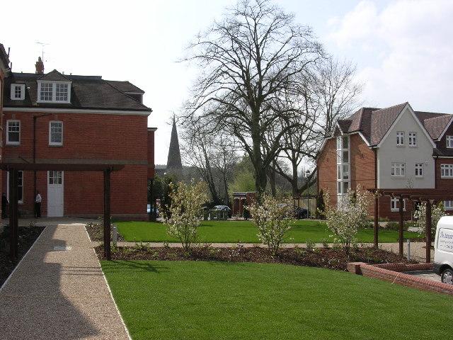 Hewells Court and parish church spire