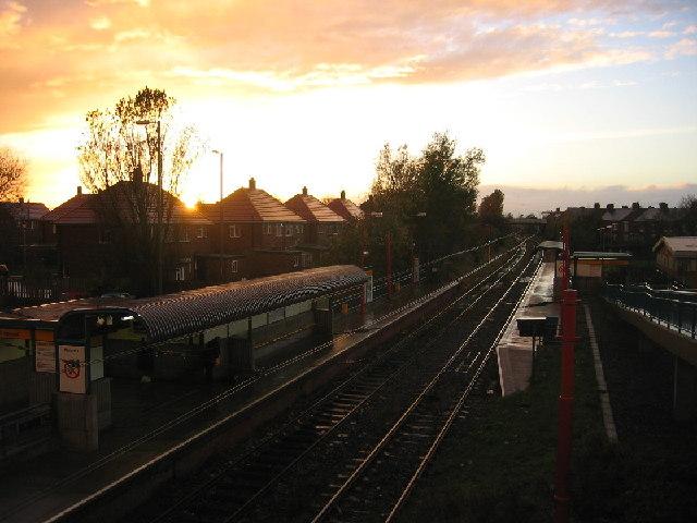Shiremoor Metro Station, sunset