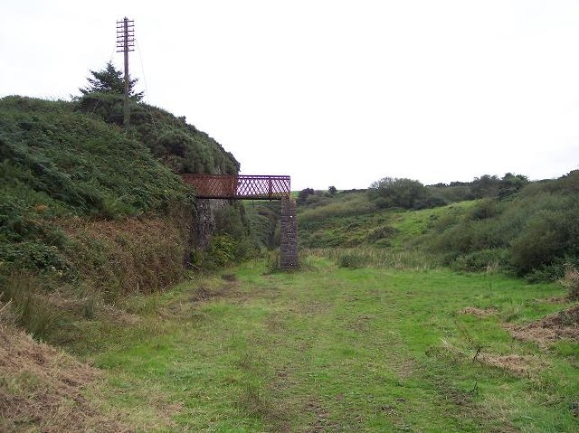 remains of railway footbridge south of Waterfall, Co. Cork