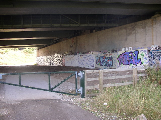 Under the south end of the  M62  viaduct, Bradley