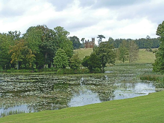 Lake at Stowe Landscape Garden with Temple in distance