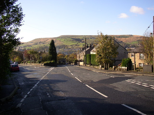 Crossroads of Meltham Road with Stubbin Road and Carrs Road