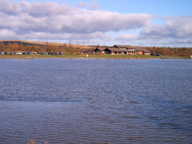 Bryn Bach Park lake and visitor centre