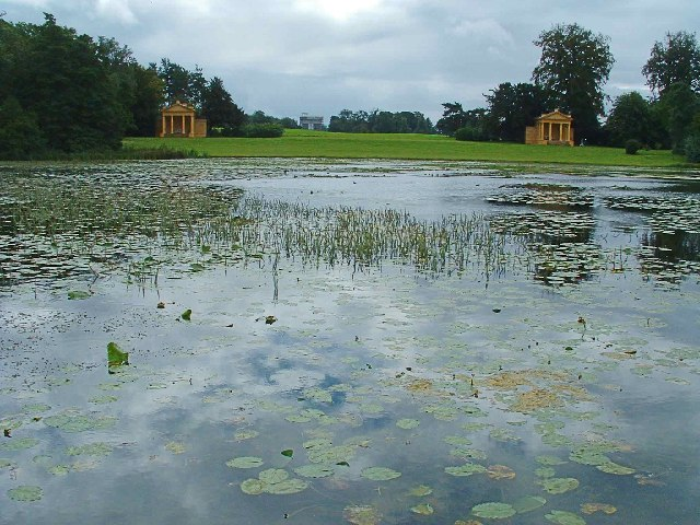 Lake at Stowe Landscape Garden with Corinthian Arch in distance