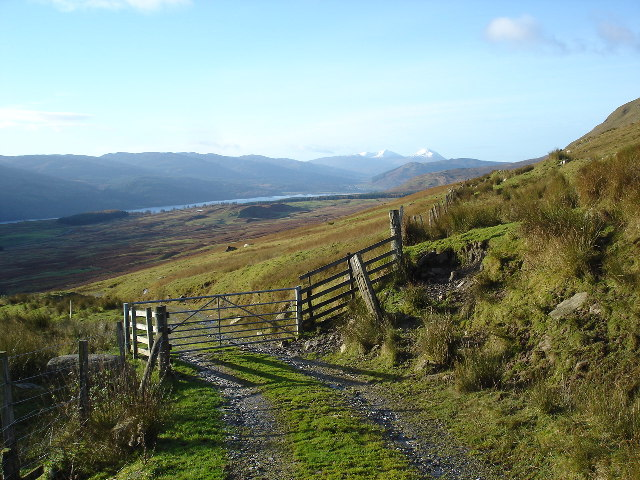 Gate on boundary of National Trust for Scotland land at Ben Lawers