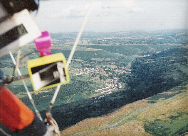 Bedlinog town from above Craig Penddeugae