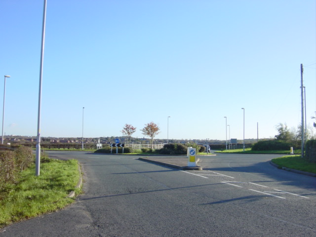 New roundabout at Three Lane Ends, Saughall Massie