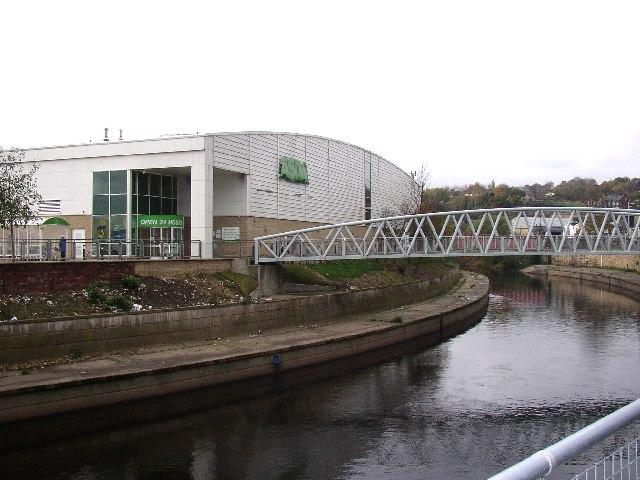 ASDA and its footbridge, Dewsbury