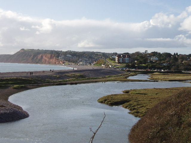 Budleigh Salterton and the mouth of the River Otter