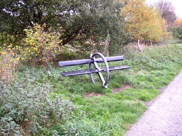 Seat on the Spen Valley Greenway, Dewsbury