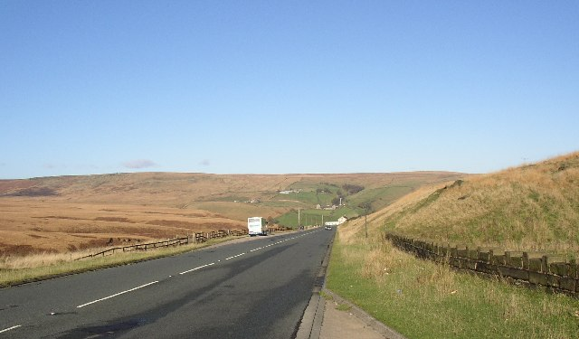 The A62 alongside Redbrook Clough, Marsden