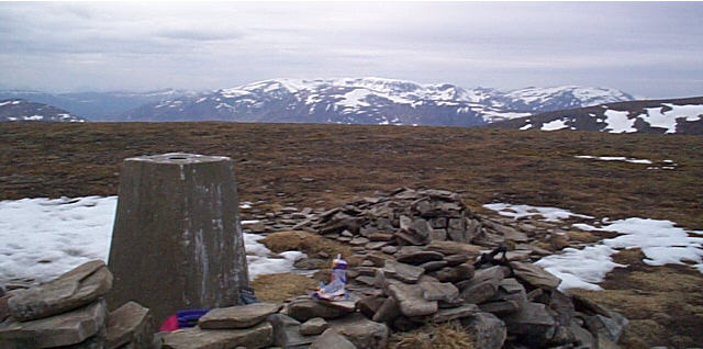 Summit Trig Point Sgairneach Mhor near Dalwhinnie