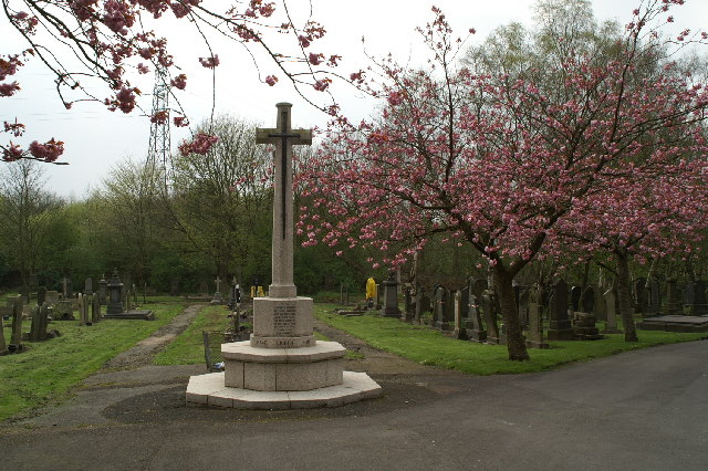 The Cross of Victory Cenotaph in Wigan Cemetery, Lower Ince