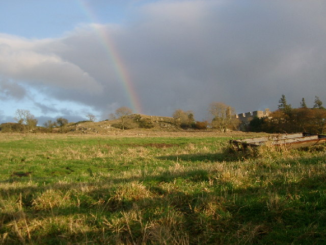 Hume Castle and Crags from the West (with rainbow)