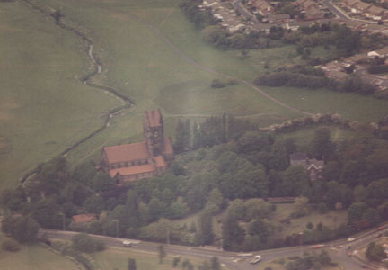 St. Chad's Church, Kirkby, from the air