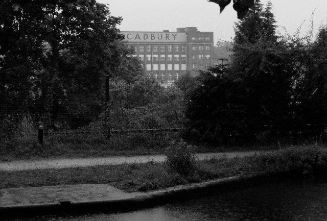 Cadbury factory, Bournville, from the Worcester and Birmingham canal towpath
