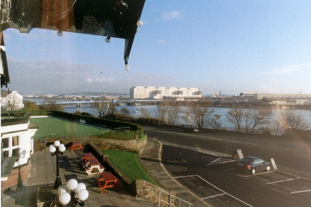 Barrow shipyard from the King Alfred Hotel, Walney Island, looking North