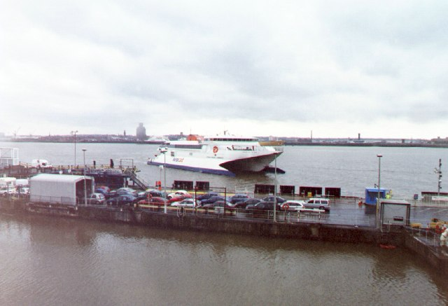 Isle of Man Steam Packet's Seacat coming alongside, Liverpool