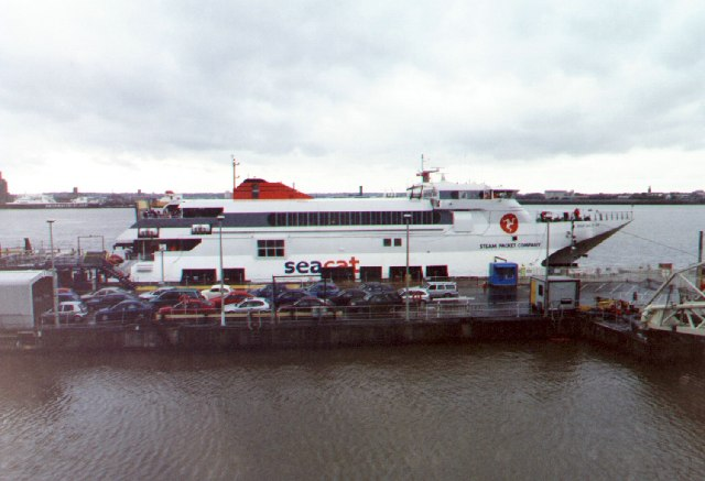 Isle of Man Steam Packet's Seacat alongside, Liverpool