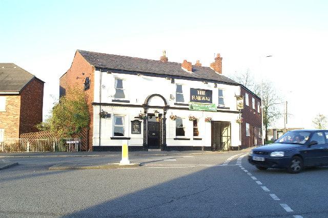 The Railway, pub on the corner of Liverpool Road (A58) and Moss Lane, Platt Bridge